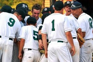 The Christopher Dock baseball team celebrate after defeating Delco Christian 5-2 in their playoff conterst at Methacton High School on Wednesday afternoon. Photo by Mark C Psoras