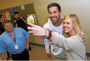 Summer Sieller takes a selfie with Super Bowl champion Denver Broncos kicker and North Penn High School alumni Brandon McManus March 9, 2016. McManus stopped by his old high school to visit with former teachers and students. Sieller was McManus's English teacher. (Gene Walsh - Digital First Media)
