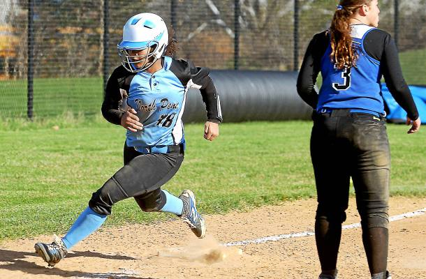 Bob Raines--Digital First Media Courtney Neal (North Penn) heads for home plate after rounding third during the Mar. 30, 2016 home game against Central Bucks South.